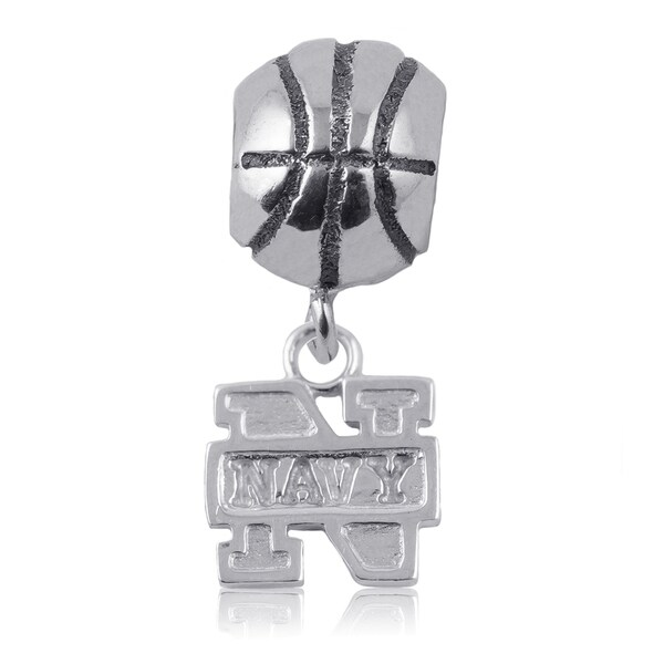 Navy Sterling Silver Basketball Charm Bead