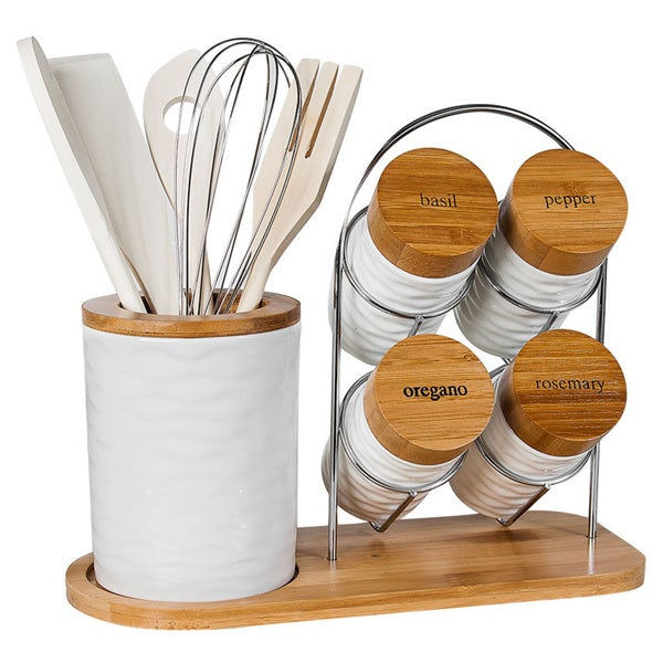 15-piece Porcelain Utensil Holder and Spice Rack Set