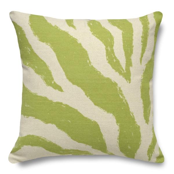Zebra Chartreuse 100-percent Linen 16-inch Throw Pillow