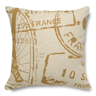 French Stamp Caramel 100-percent Linen 16-inch Throw Pillow