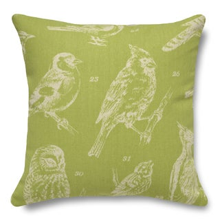 Bird Watch Chartreuse 100-percent Linen 16-inch Throw Pillow