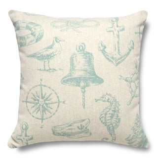 Nautical Aqua 100-percent Linen 16-inch Throw Pillow