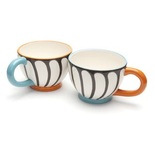 Blue Brulee Cappuccino Mugs by La Cote (Set of 2)