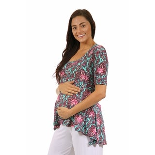 24/7 Comfort Apparel Women's Maternity Pink&Mint Paisley High-Low Tunic