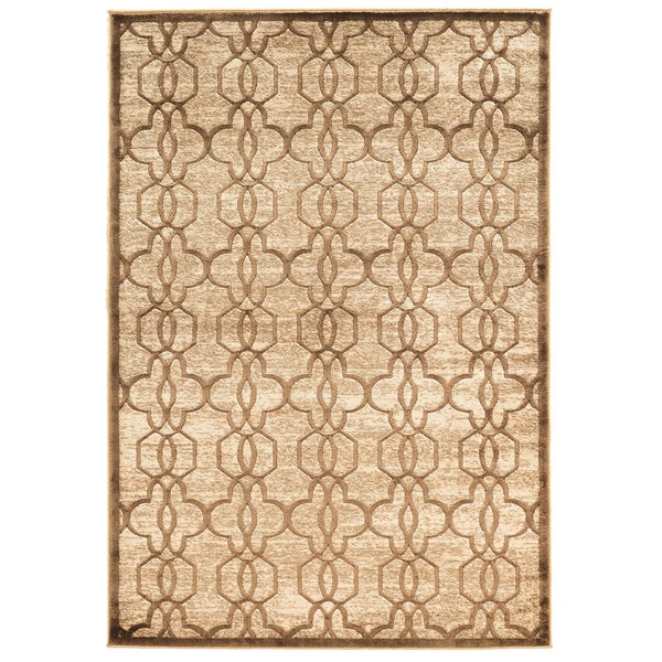 Linon Platinum Collection Iron Gate Beige/Cream Quatrefoil Modified Polyester Area Rug (8' x 11') (Overstock Exclusive)