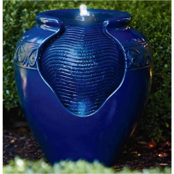 Peaktop Outdoor Garden Royal Blue Round Fountain