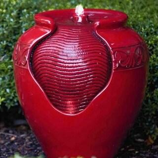 Peaktop Outdoor Garden Vivid Red Round Fountain