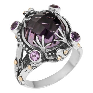 Sterling Silver, 18K Gold, Amethyst Cawi 'Tropical Frog' Ring (Indonesia)