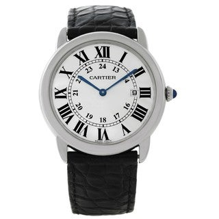 Cartier Men's W6700255 Ronde Solo Round Black Leather Watch