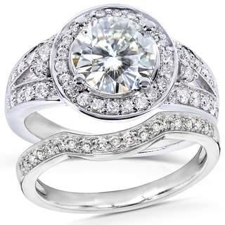 Annello 14k White Gold Round-cut Forever Brilliant Moissanite and 1/2ct TDW Halo Diamond Bridal Set Rings