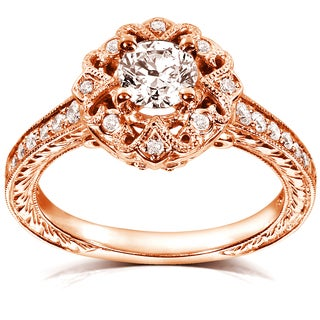 Annello 14k Rose Gold 1/2ct TDW Floral Vintage Diamond Engagement Ring (H-I, I1-I2)