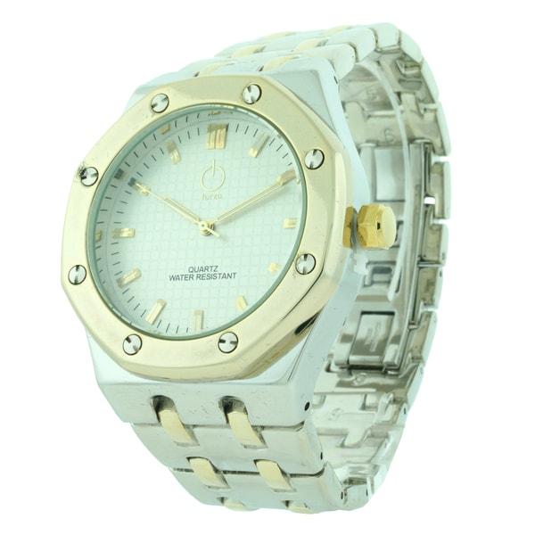 Forza Men's Brass Gold case Black Dial Bracelet Watch with Butterfly Deployment