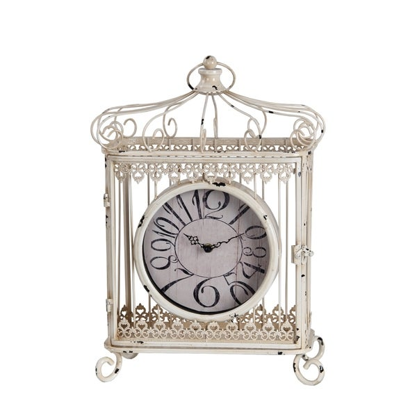 Privilege Iron Scroll Bird Cage Design Table Clock