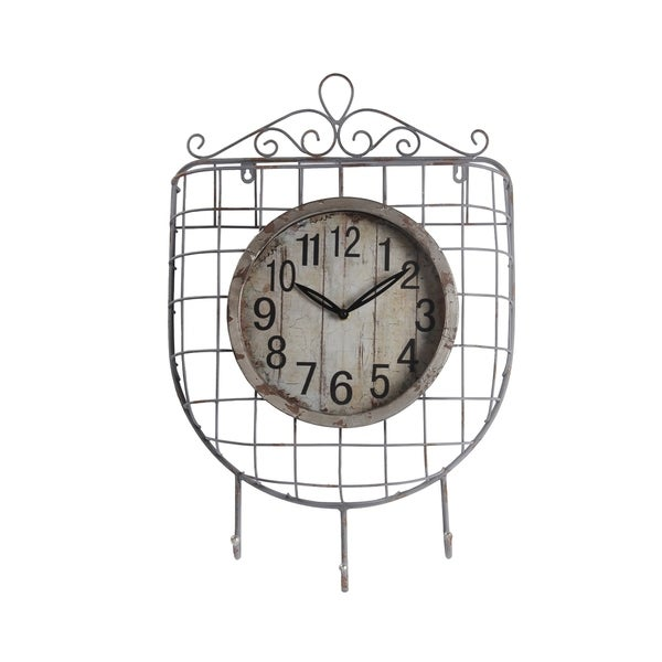 Privilege Iron Wall Clock with Hooks