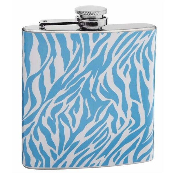 Blue and White Zebra Print 6-ounce Hip Flask