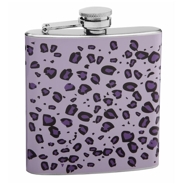 Purple on Purple 6-ounce Leopard Skin Print Hip Flask