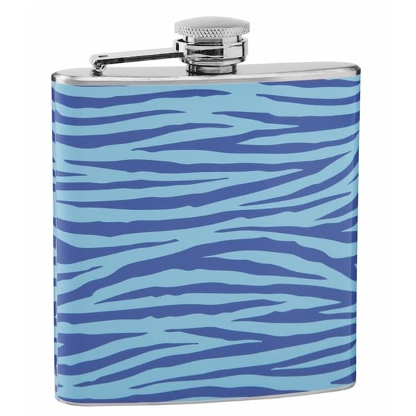 Light and Dark Blue Tiger Print 6-ounce Hip Flask