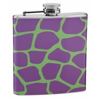 Top Shelf Purple and Green Giraffe Print 6-ounce Hip Flask