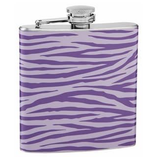 Top Shelf Light and Dark Purple Tiger Print 6-ounce Hip Flask