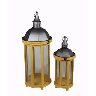Privilege Yellow 2-piece Wood and Metal Lantern