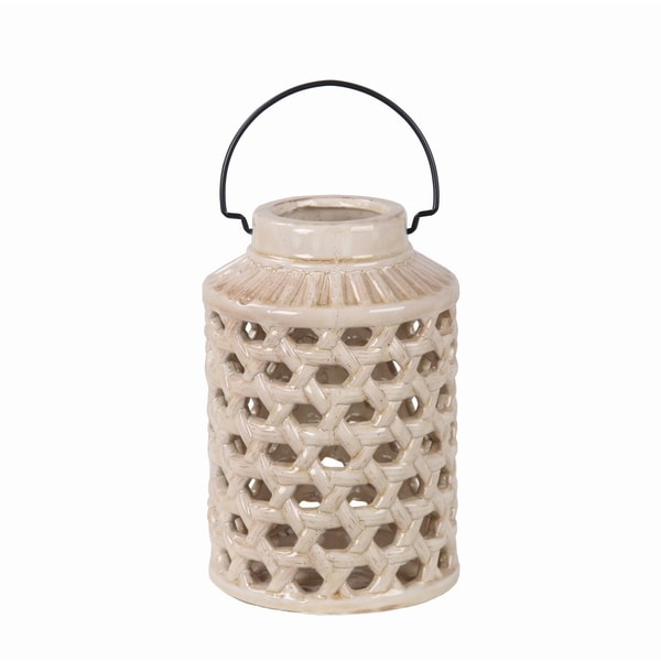 Privilege Off-white Small Pierced Ceramic Lantern