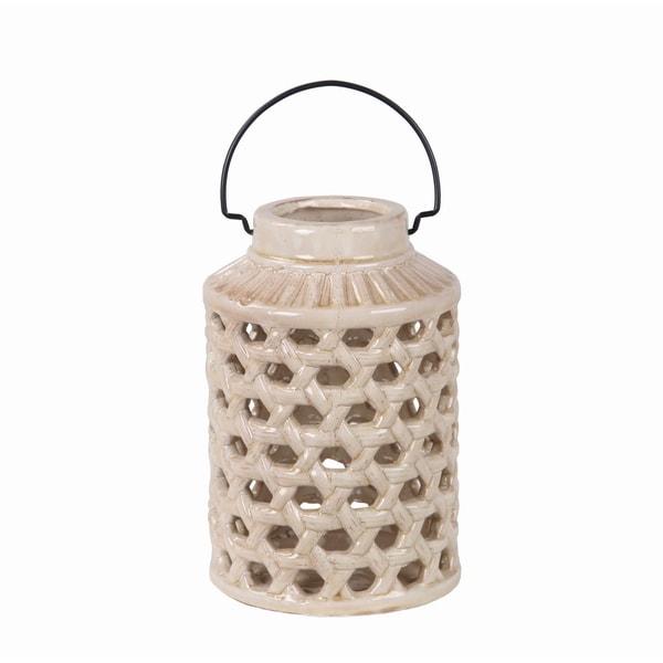 Privilege Off-white Small Pierced Ceramic Lantern