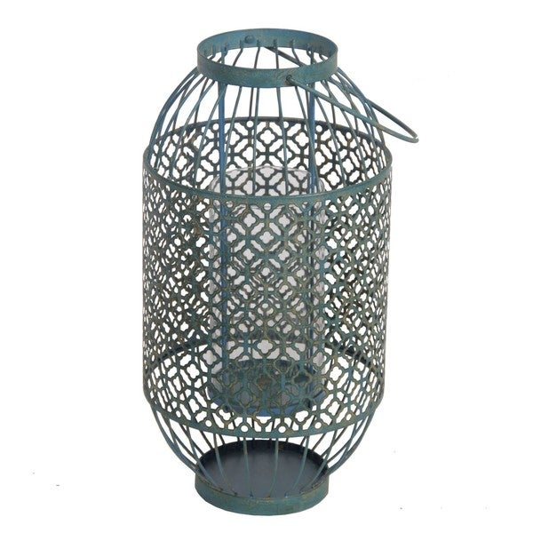 Privilege Blue Large Iron Weave Lantern