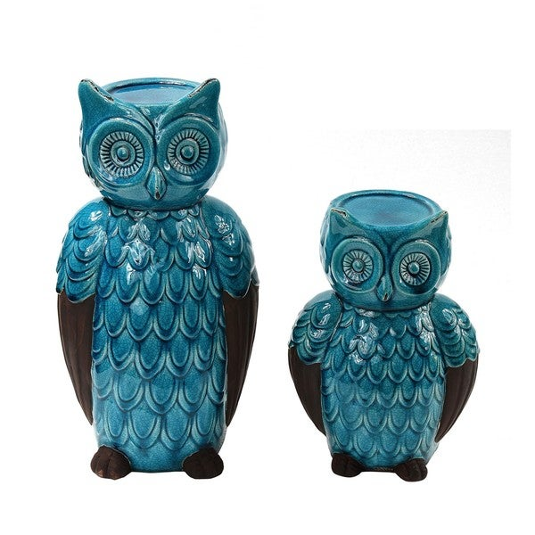 Privilege Blue 2-piece Owl Candle Holders