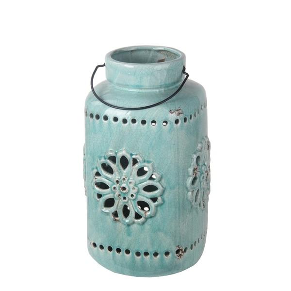 Privilege Turquoise Large Blue Ceramic Lantern