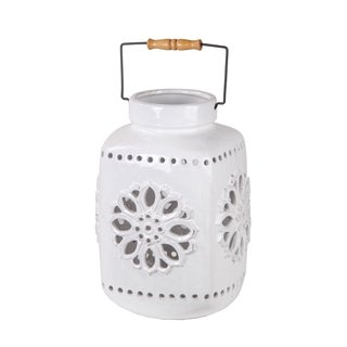 Privilege White Medium Ceramic Lantern