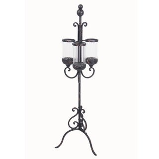 Privilege Antique Black Iron Candle Holder on Stand