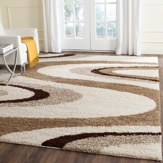 Safavieh Shag Ivory/ Brown Rug (9' x 12')