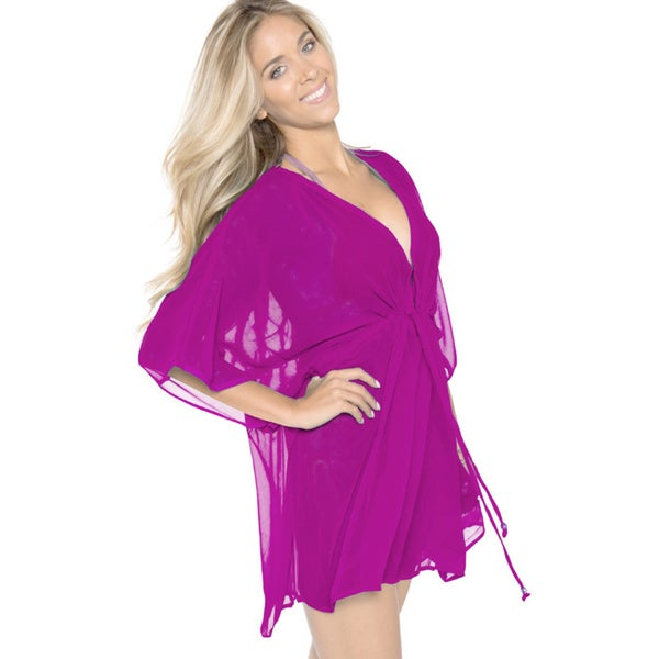 La Leela Chiffon Swimwear Beach One Size Swim Caftan Kaftan Cover up Purple