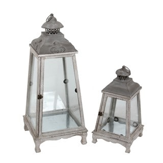 Privilege Grey 2-piece Vintage Wooden Lanterns