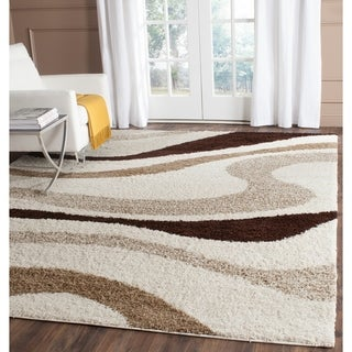 Safavieh Shag Ivory/ Brown Polyester Rug (6' x 9')