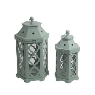 Privilege Green 2-piece Wooden Lanterns