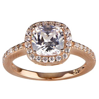 Sterling Silver CZ Halo Cushion Cut Rose Gold Engagement Ring