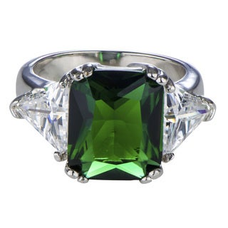 Brass Emerald Cut Green CZ Ring with Trillion Sides