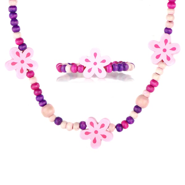 Little Girl Pink Wooden Flower Jewelry Set
