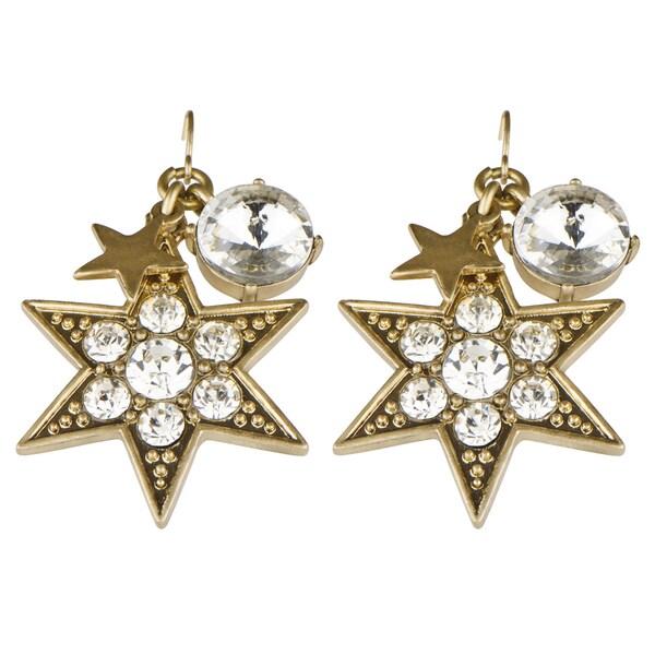 Brass Gold Rhinestone starburst Dangle Earrings