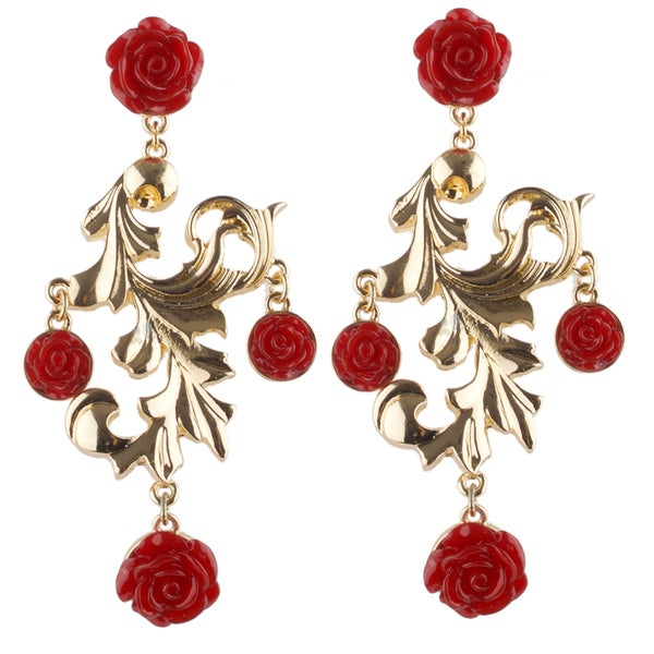 Brass chandelier red rose earrings