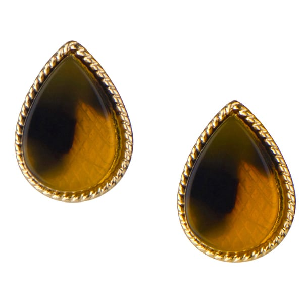 Brass Gold Pear Tortoiseshell Stud Earrings