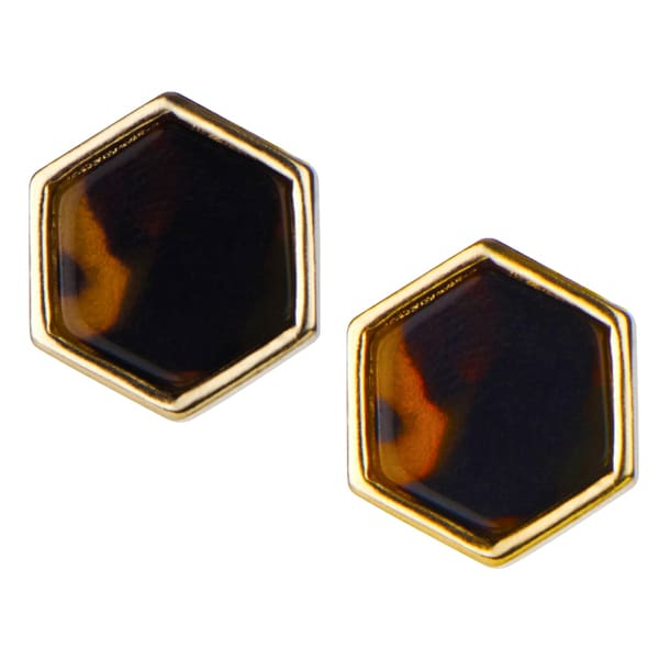Brass hexagon Gold Bezel Tortoiseshell Stud Earrings