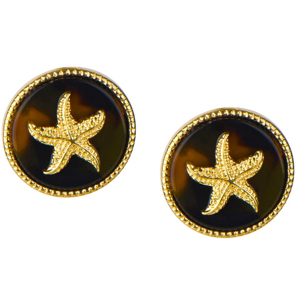 Brass starfish Tortoiseshell Stud Earrings