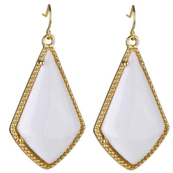 Brass Boho White Dangle Earrings