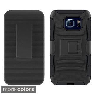 Insten Hard PC/ Silicone Dual Layer Hybrid Phone Case Cover with Holster For Samsung Galaxy S6 Edge