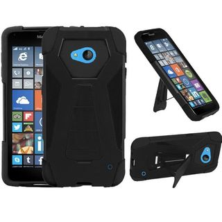 Insten Hard PC/ Silicone Dual Layer Hybrid Rubberized Matte Phone Case Cover with Stand For Microsoft Lumia 640