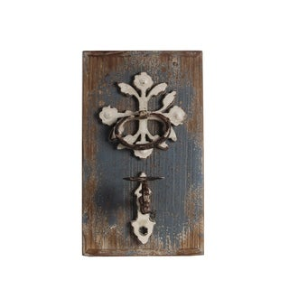 Privilege Flower Brown Iron and Wood Wall Candle Holder