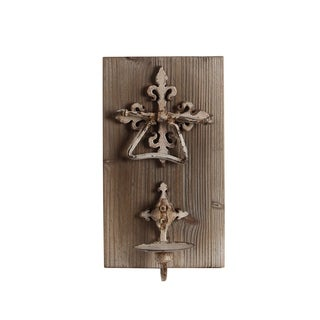 Privilege Flower Cross Brown Iron and Wood Wall Candle Holder