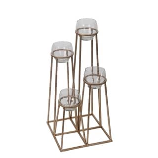 Privilege Gold 4-tier Iron and Glass Candleholder